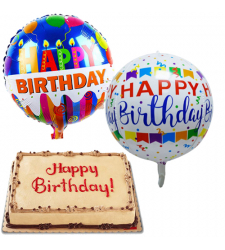 Mocha Dedication Cake with Birthday Mylar Balloon