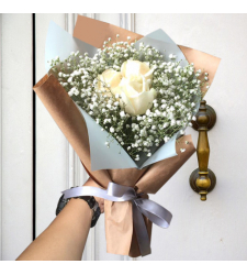 send 3 pcs. white color roses in bouquet to cebu