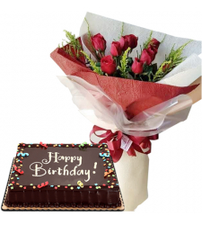 Birthday Cake with 7 Red Roses Bouquet