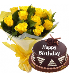 Chocolate Cake with 12 Yellow Roses Bouquet