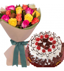 12 Mixed Roses Bouquet with Black Forest Cake