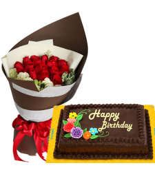 12 Red Roses Bouquet with Chocolate Birthday Cake
