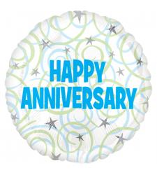 Single Pc. Happy Anniversary Mylar Balloon