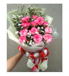 send 12 stems pink color roses bouquet to cebu