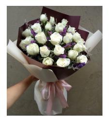 send 2 dozen of white roses in bouquet to cebu