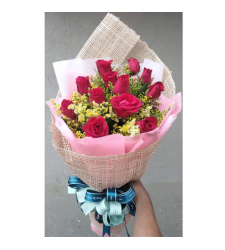 send 12 fresh red roses in hand bouquet to cebu