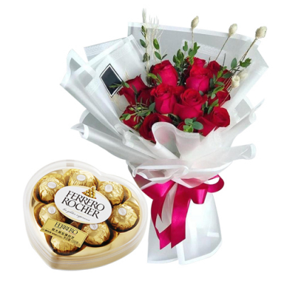 send 12 red roses with ferrero heart shape to cebu