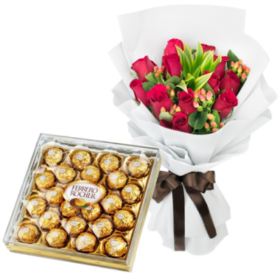 send 12 red roses with ferrero rocher to cebu