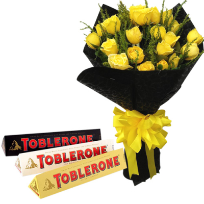 send 24 yellow roses with toblerone chocolate to cebu