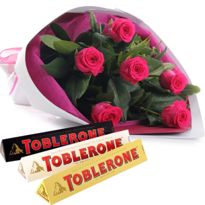send half dozen pink roses with chocolate to cebu